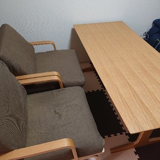 ムジルシリョウヒン(MUJI (無印良品))の無印良品 リビングでもダイニングでも使えるテーブル & いす2個(ダイニングテーブル)