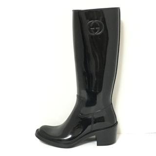 グッチ(Gucci)のグッチ レインブーツ 37 レディース 黒(レインブーツ/長靴)