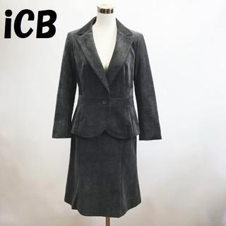 ICB - 【人気】iCB スーツ 上下 ジャケット スカート 厚手 冬物 ベロア調 日本製