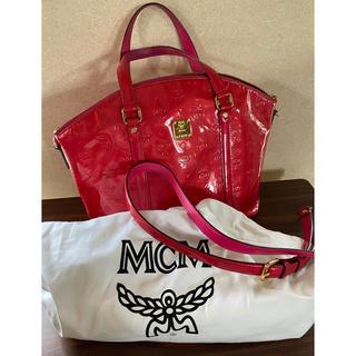 MCM - 【美品】MCM ホットピンク エナメル ハンドバッグ ショルダー2way レア