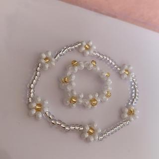 白 ホワイト 韓国 ビーズアクセサリー ブレスレット リング 花