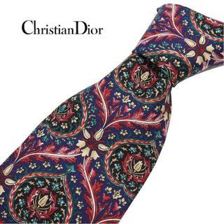 クリスチャンディオール(Christian Dior)のクリスチャンディオール DIOR ネクタイ 紺色×紫系 フランス製 花柄物(ネクタイ)