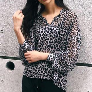 マウジー(moussy)のMOUSSY sheer leopard blouse(シャツ/ブラウス(長袖/七分))