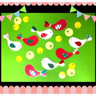壁面飾り 小鳥 クリスマスカラー☆(型紙/パターン)
