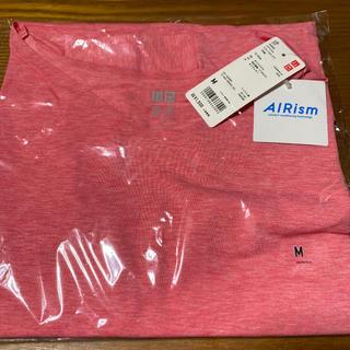 ユニクロ(UNIQLO)のユニクロ エアリズム VネックロングTシャツ ピンク Mサイズ(ヨガ)