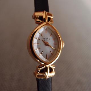 アガット(agete)の美品 レア アガット agete 腕時計 レディース レザー ブラック (腕時計)