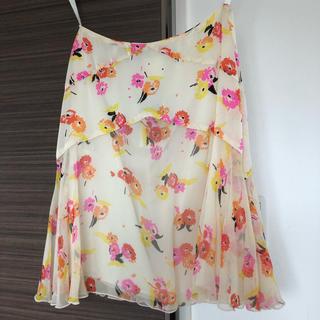 アナスイ(ANNA SUI)のアナスイ スカート フレア 膝丈 花柄 白(ひざ丈スカート)