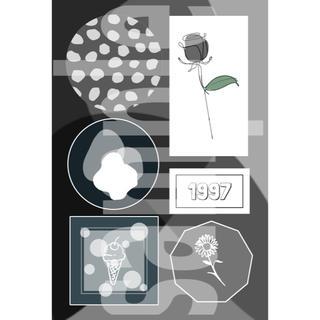 2-① メンバーカラー メンカラ ネップリ ネットプリント 黒系 1枚(カード/レター/ラッピング)