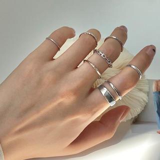 Ameri VINTAGE - 7個入り シンプル リング セット ファランジリング 指輪
