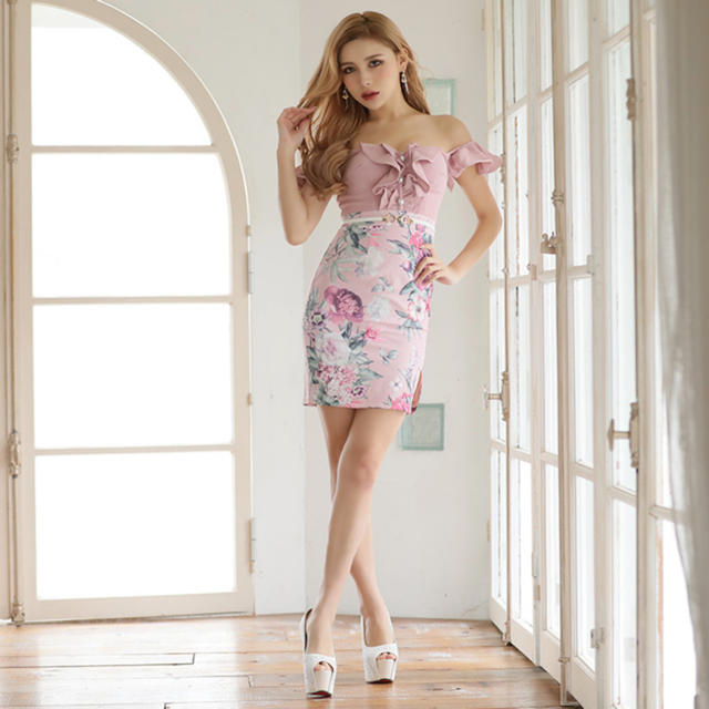 JEWELS(ジュエルズ)のほぼ新品 花柄 キャバドレス Jewels レディースのフォーマル/ドレス(ナイトドレス)の商品写真