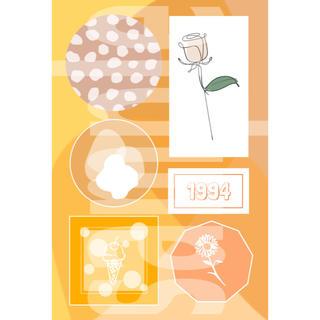 2-④ メンバーカラー メンカラ ネップリ ネットプリント オレンジ系 1枚(カード/レター/ラッピング)