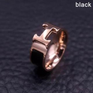 アリシアスタン(ALEXIA STAM)の新品 Hモチーフ リング ブラック 10号 11号(リング(指輪))