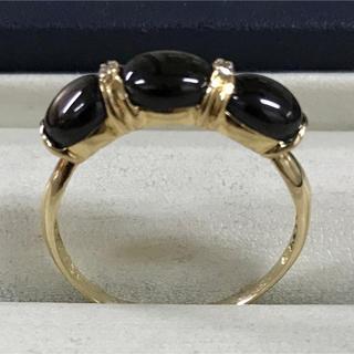 ★大きめの20号★K18スモーキークオーツ&ダイヤモンドリング★1.35ct★(リング(指輪))