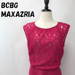 ビーシービージーマックスアズリア(BCBGMAXAZRIA)の【人気】BCBG MAXAZRIA ノースリーブ膝丈ワンピース 総レース M(ひざ丈ワンピース)