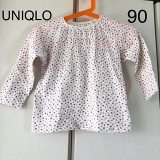 UNIQLO - 美品☆UNIQLO 小花柄ロンT 90