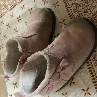 エイチアンドエム(H&M)のショートブーツ h&m リボン ピンク 14cm 14.5cm 15cm(ブーツ)