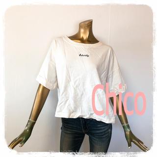 フーズフーチコ(who's who Chico)のChico ♥ 激かわ 刺繍 袖ロールアップ ゆったり カットソー(カットソー(半袖/袖なし))