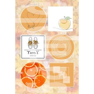 3-④ メンバーカラー メンカラ ネップリ ネットプリント オレンジ系 1枚(カード/レター/ラッピング)