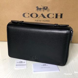 コーチ(COACH)のコーチ 長財布 トラベルオーガナイザー Wジップ  ブラック 【新品】(長財布)