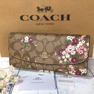 コーチ(COACH)のコーチ 長財布 二つ折り 花柄 ブラウン  【新品】(財布)