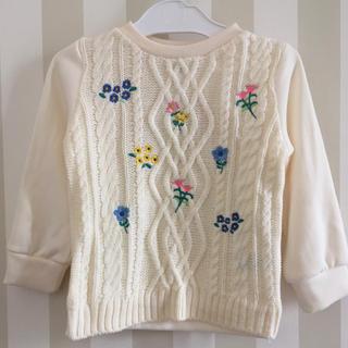 ベビーギャップ(babyGAP)のbabygap ベビーギャップ風 裏ベロア刺繍セーター フラワー 花柄100cm(ニット)