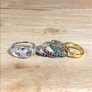 マルチwayリング (サファイア、エメラルド、ルビー、銀925、24金)(リング(指輪))