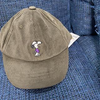 プティマイン(petit main)のスヌーピー  コーデュロイキャップ(帽子)