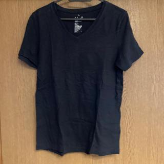 ムジルシリョウヒン(MUJI (無印良品))の無印良品 VネックTシャツ ブラック L(Tシャツ/カットソー(半袖/袖なし))