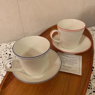 キャトルセゾン(quatre saisons)のカレルチャペック紅茶店カップ&ソーサーgood tea・ブルー レッドの2セット(グラス/カップ)