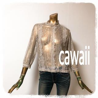 カワイイ(cawaii)のcawaii ♥ 花刺繍 総レース ハイネック ブラウス(シャツ/ブラウス(長袖/七分))