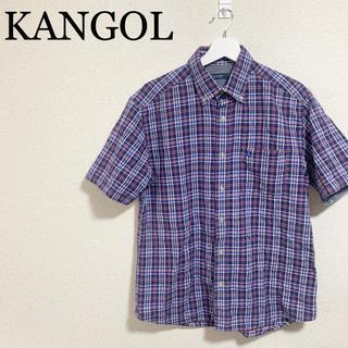 カンゴール(KANGOL)のKANGOL 半袖シャツ メンズM チェックシャツ 古着 ビッグシルエット ロゴ(シャツ)