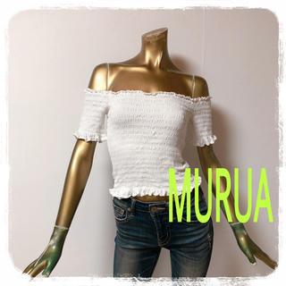 ムルーア(MURUA)のMURUA ♥ シャーリング ショート オフショル トップス(カットソー(半袖/袖なし))