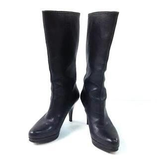 ミュウミュウ(miumiu)のミュウミュウ ロングブーツ 34 1/2 黒(ブーツ)