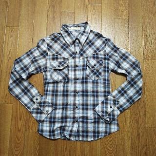 ワンウェイ(one*way)のチェックシャツ 長袖シャツ ブルー(シャツ/ブラウス(長袖/七分))