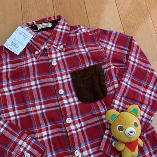 ミキハウス(mikihouse)の10340円★ミキハウス★130★赤チェックシャツ★胸ポケット付★新品★(ブラウス)