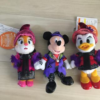 ディズニー(Disney)の『未使用』ディズニー限定☆ハロウィン☆ぬいば☆ミッキー・クラリス・デイジー3体(キャラクターグッズ)