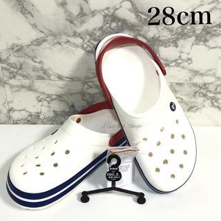 クロックス(crocs)の【新品】クロックス  クロックバンド 28センチ ホワイト × ブルー 白×青(サンダル)