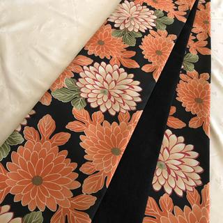 半幅帯 菊模様×黒シルクウール
