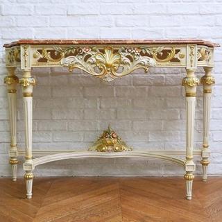 美品 ロココ高級家具 イタリア製 大理石天板フレンチサイドテーブル クラシック