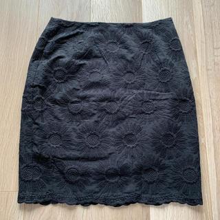 マウジー(moussy)のmoussy マウジー 黒 花柄 スカート(ひざ丈スカート)