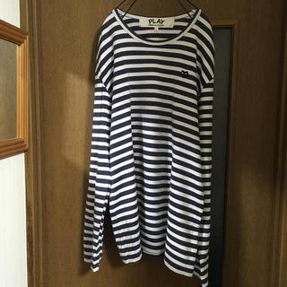 コムデギャルソン(COMME des GARCONS)のplay コムデギャルソン 紺白ボーダー メンズL(Tシャツ/カットソー(七分/長袖))