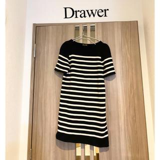 ドゥロワー(Drawer)のドゥロワー Drawer 1 S /カシミヤ/ボーダー ワンピース 美品(ひざ丈ワンピース)