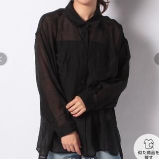 マジェスティックレゴン(MAJESTIC LEGON)のマジェスティックレゴン シアーオーバーサイズシャツ ブラック(シャツ/ブラウス(長袖/七分))