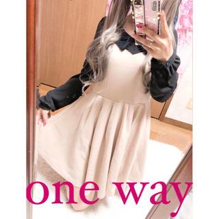 ワンウェイ(one*way)の2510.one way バイカラー フレアワンピース(ミニワンピース)