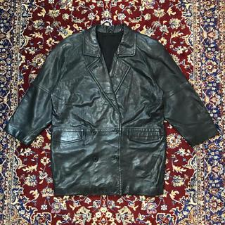 ジョンローレンスサリバン(JOHN LAWRENCE SULLIVAN)のVINTAGE wide-fit middle leather coat(レザージャケット)