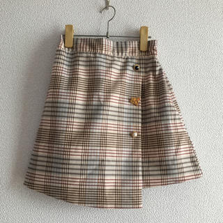 ディーホリック(dholic)の韓国 アソートボタン  ベージュ チェックスカート(ミニスカート)