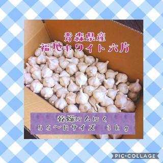 青森県産福地ホワイト六片 乾燥にんにく SS~Mサイズ 3kg(野菜)