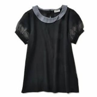 フェリシモ(FELISSIMO)のhaco! pilvee 透け袖のシフォンブラウス ブラック(シャツ/ブラウス(半袖/袖なし))