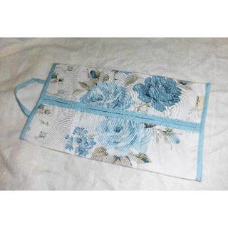ローラアシュレイ(LAURA ASHLEY)の新品 ローラアシュレイ ティッシュ ケース 花柄 水色 ①(ティッシュボックス)
