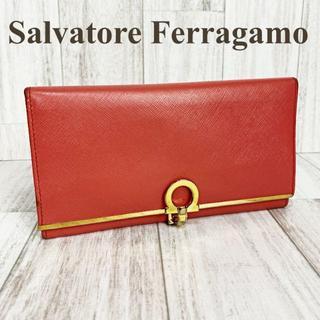 Salvatore Ferragamo - フェラガモ 二つ折り財布 ガンチーニクリップ ピンクオレンジ